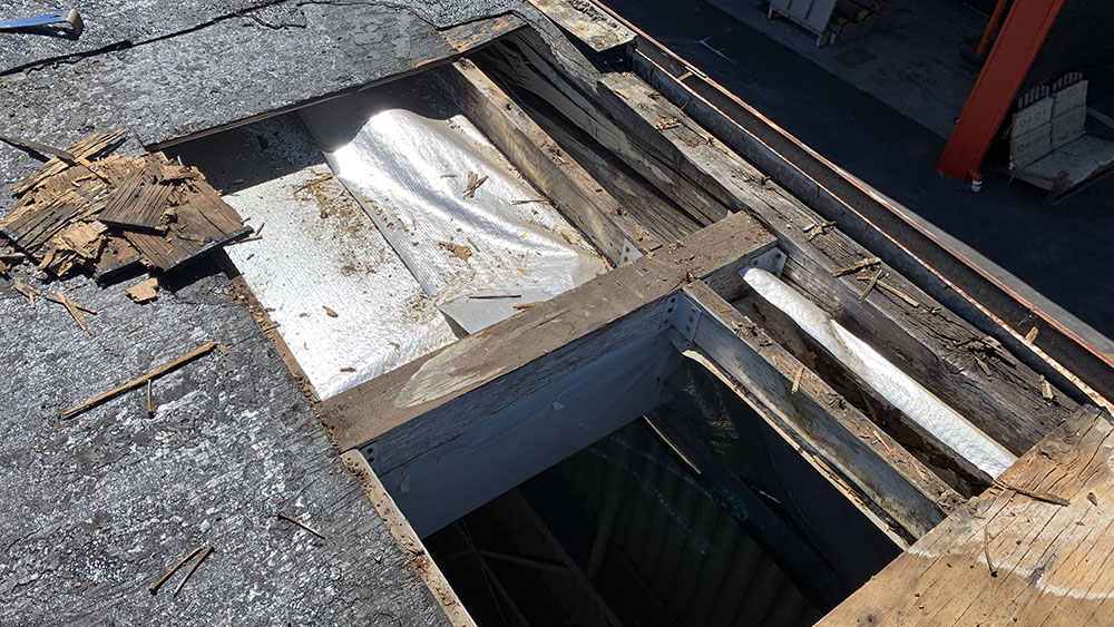 before photo during a commercial roofing repair project in redondo beach