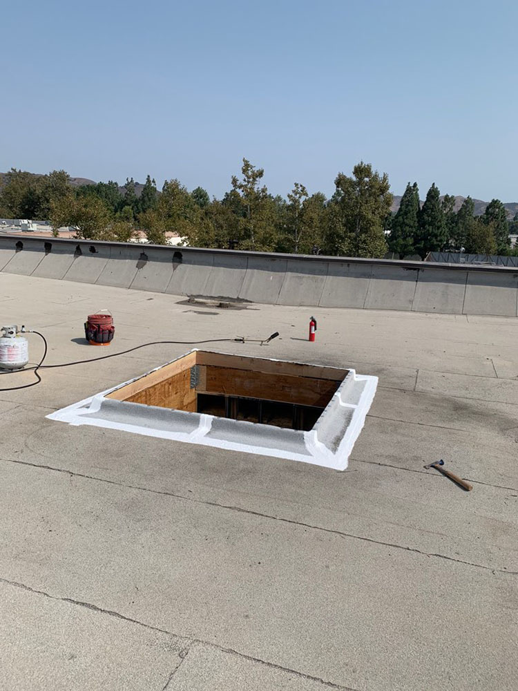 in progress skylight replacement on commercial roof in westlake village