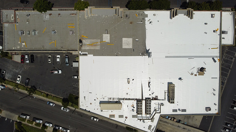 overhead drone photogaphy for southern california commercial roofing maintenance