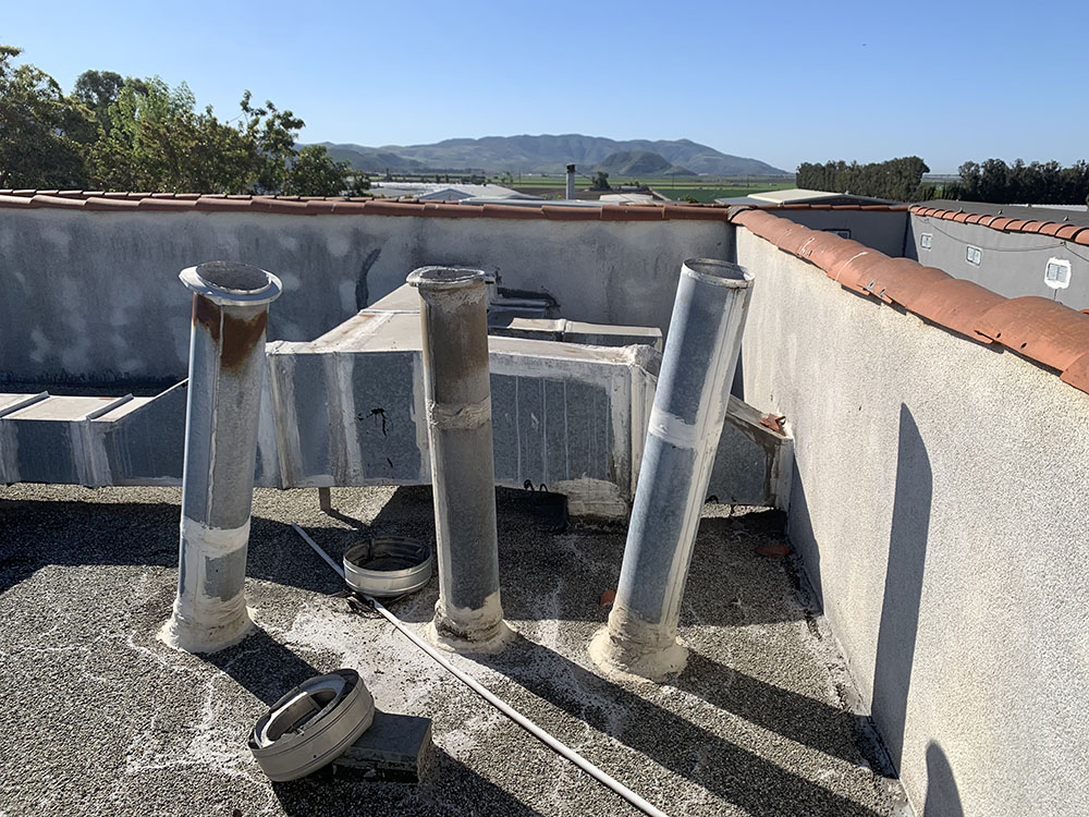 commercial roofing repair project on a laundry facility in Camarillo