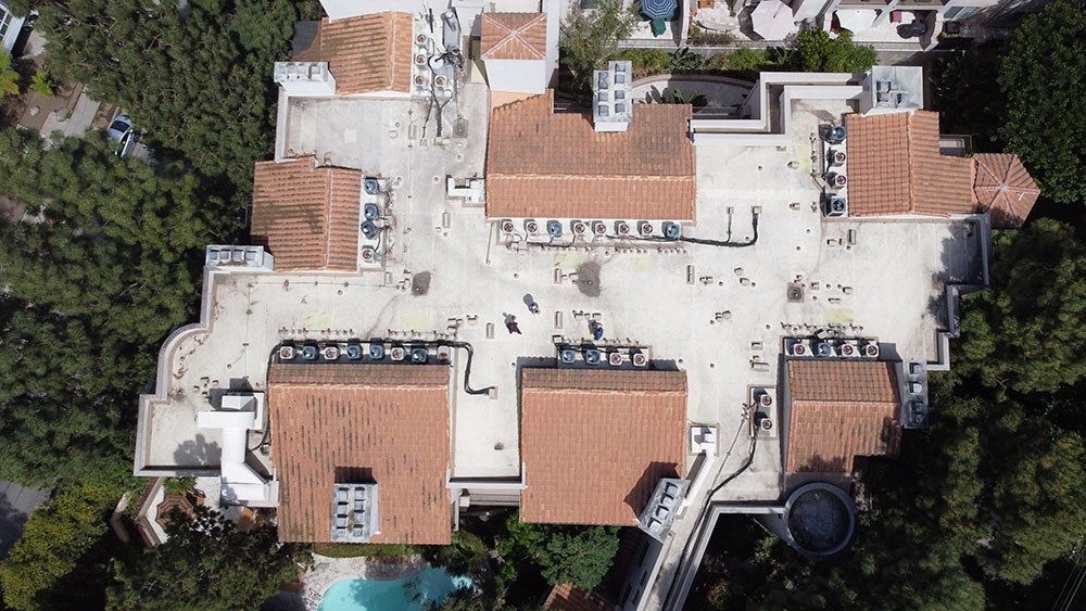 overhead view of commercial roofing apartment maintenance in Studio City, CA