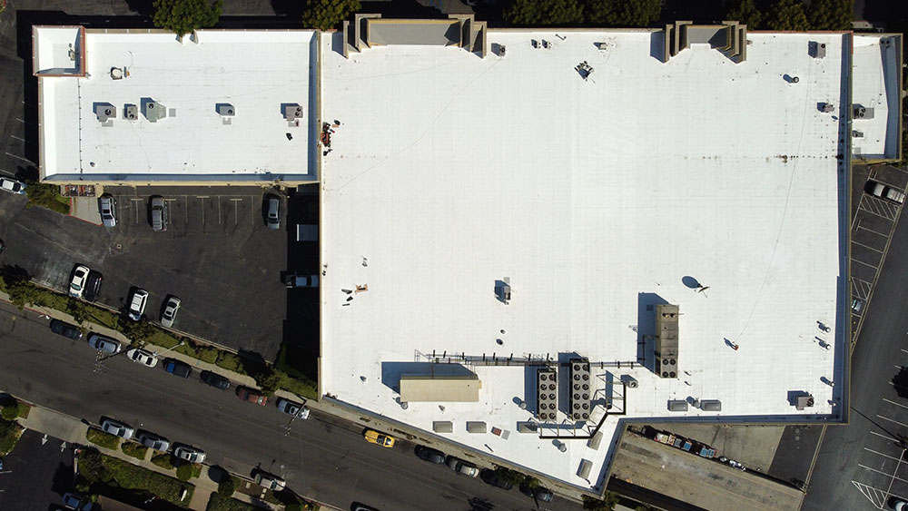 overhead drone photo of a pvc membrane commercial roofing project