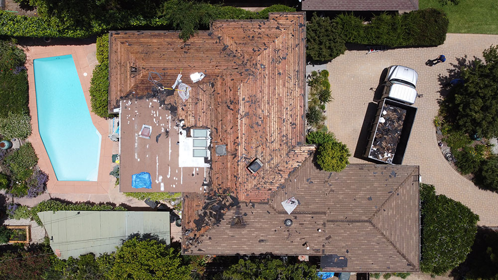 drone picture in altadena of a residential roofing project