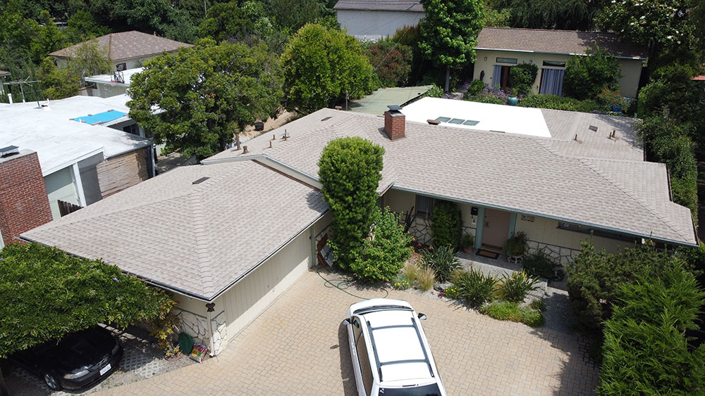 overhead picture of a completed residential roofing project near altadena, ca