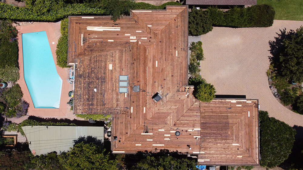 overhead picture of a completed steep slope roofing project near altadena, ca